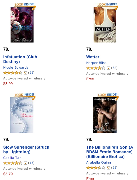 Slow Surrender at #79 on the Amazon Erotica Bestsellers List