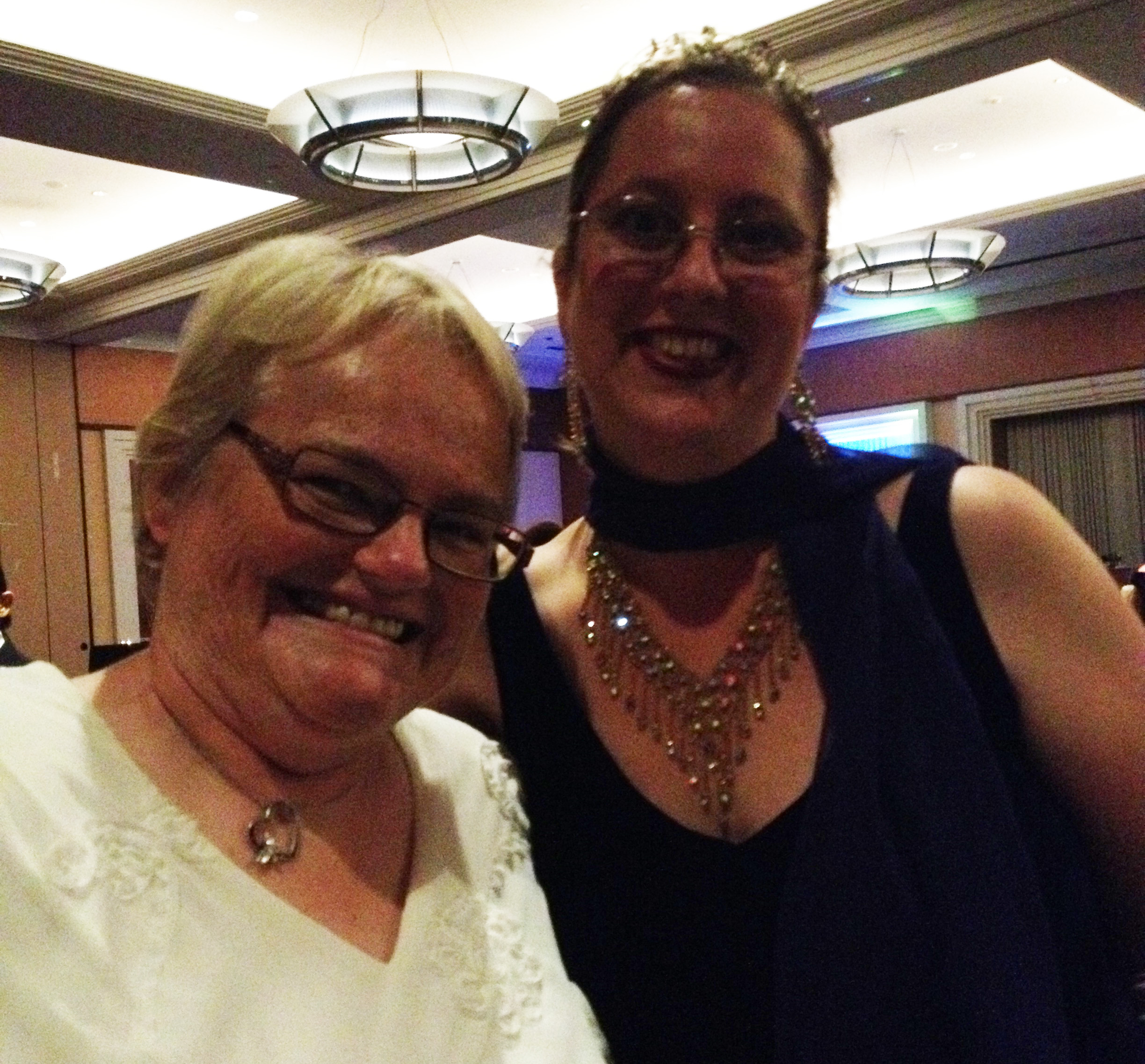 Ball photos! Kallypso Masters and Siobhan Muir, a closeup so you can see Siobhan's fantastic necklace.
