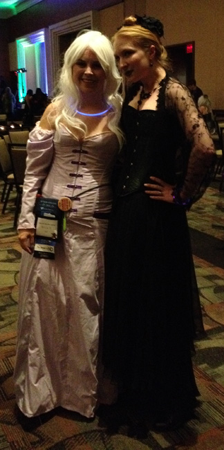 Leanna Renee Hieber and OMG I've forgotten who this is in the fantastic pink corset and dress.