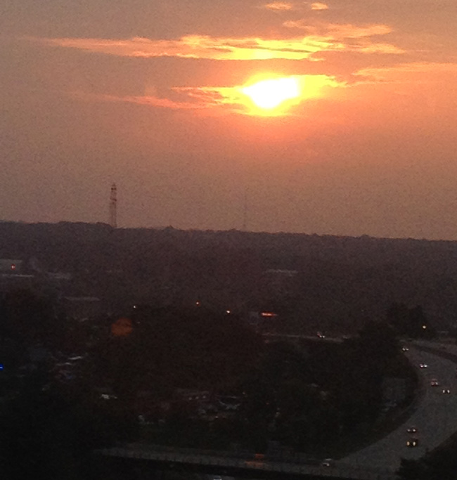 View of the sunset from my hotel room at AAD.