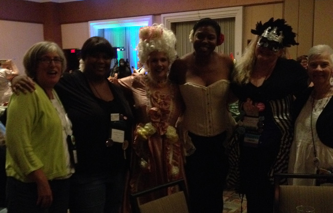Tilly Green, Annabel Joseph, Yvette Hines, and some people whose names I didn't get at the Sins & Virtues Ball at AAD
