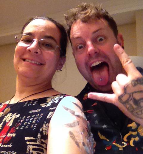 Me and Geoff the tattoo artist after I got my tattoo at AAD!