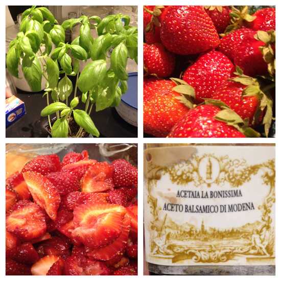 My basil plant, strawberries whole and then cut, and the label of the syrupy balsamic vinegar I used.