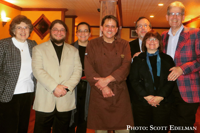 Irene, corwin, me, Damon Baehrel, David, Diane, Scott, snapping a photo after the fantastic and amazing meal
