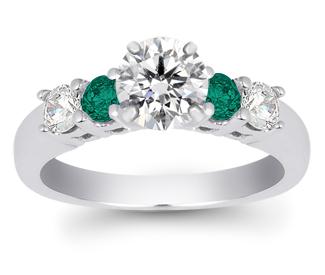 Gemstone-Engagement-Ring---Round-Emerald-and-Diamond-Gemstone-Ring-in-White-Gold-1